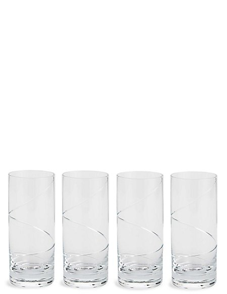 4 Pack Swirl Hi Ball Glasses