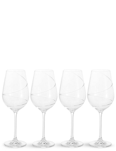 Set of 4 Swirl Red Wine Glasses