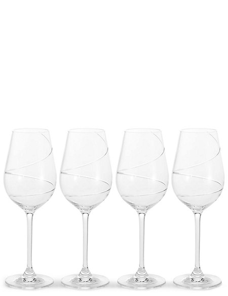 Swirl 4 Pack White Wine Glasses