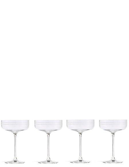 Set of 4 Marlowe Stripe Champagne Saucers Set