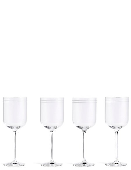 Set of 4 Marlowe Stripe White Wine Glasses