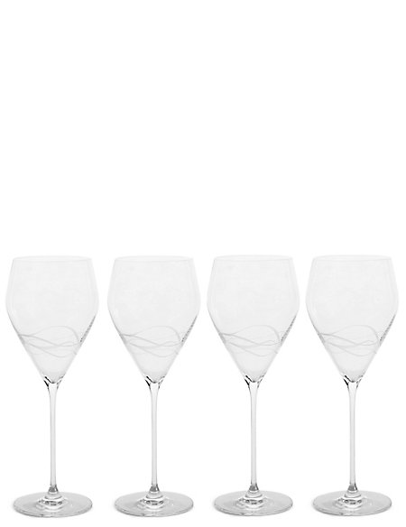 Set of 4 Etched Lily Red Wine Glass