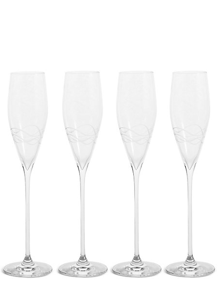 Set of 4 Etched Lily Champagne Flutes