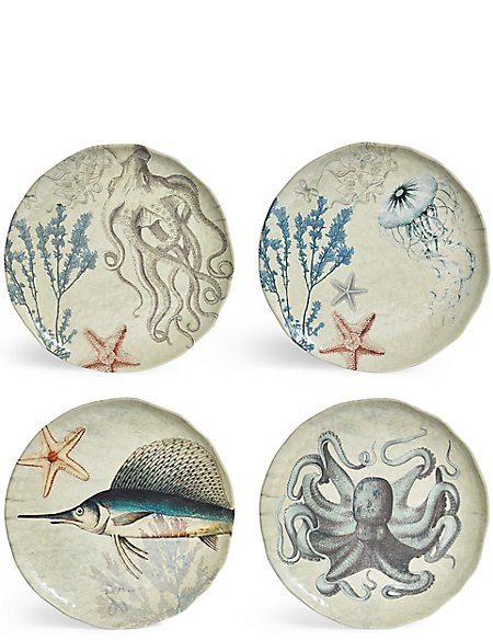 Set of 4 Nautical Melamine Dinner Plates