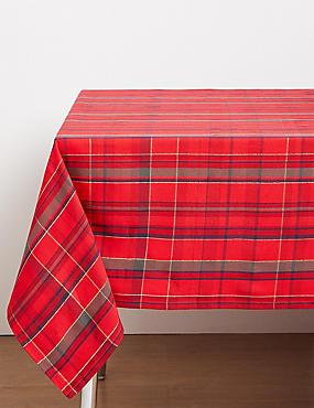 Baumwoll-Tischdecke mit Schottenkaromuster