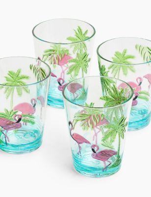 Set of 4 Flamingo Picnic Tumblers