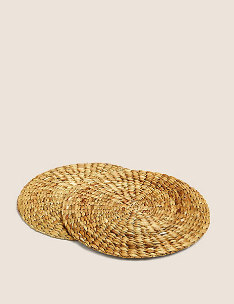 2 Pack Round Natural Placemats