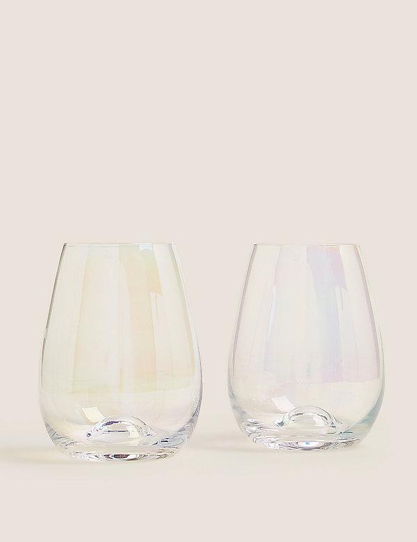 Lot de 2verres à vin sans pied, effet brillant