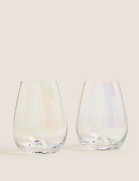 Set of 2 Lustre Stemless Wine Glasses