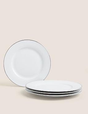 Set of 4 Platinum Rim Dinner Plates