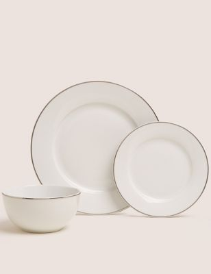 12 Piece Platinum Rim StayNew™ Dinner Set