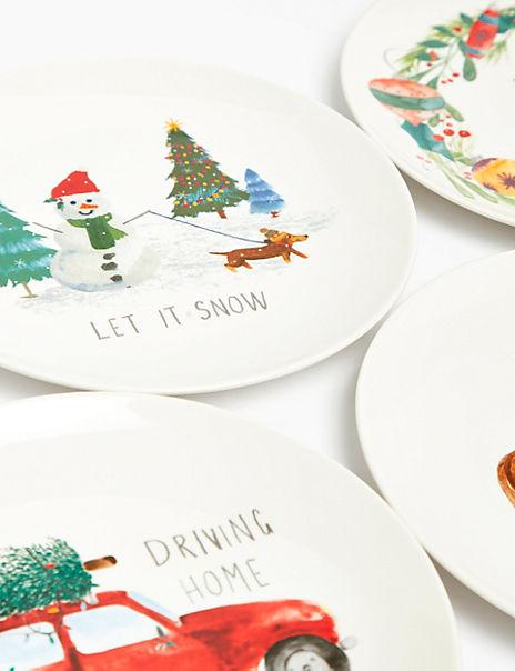 Set of 4 Festive Side Plates