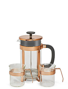 Copper Cafetiere & Cups