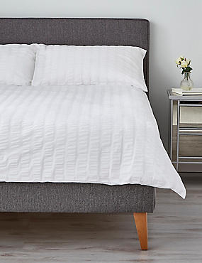 Wide Stripe Seersucker Bedding Set