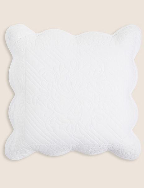 Pure Cotton Embroidered Trapunto Cushion