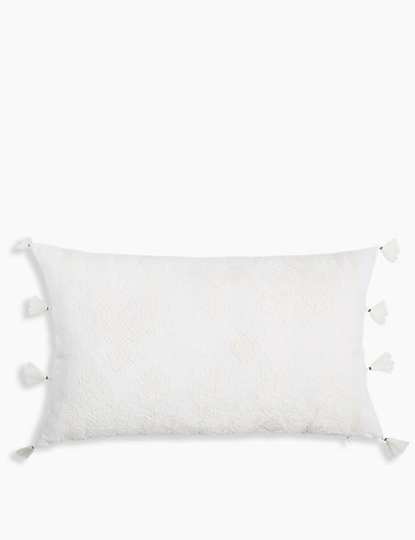Embroidered Textured Cushion with Tassels