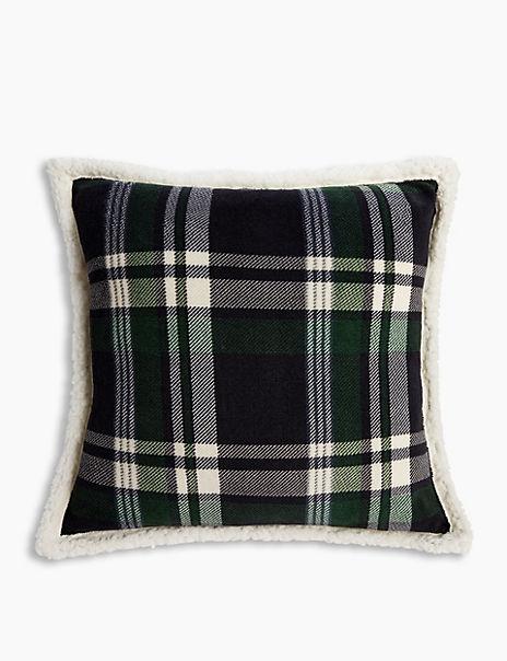 Fleece Checked Cushion
