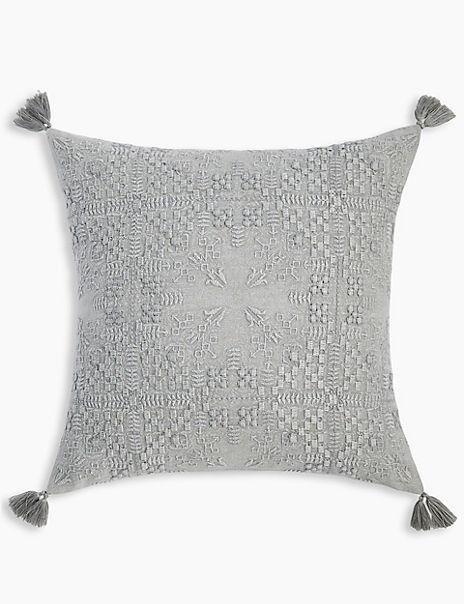 Textured Tassel Cushion