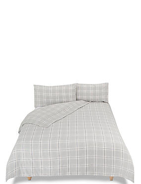 Vintage Checked Brushed Cotton Bedding Set