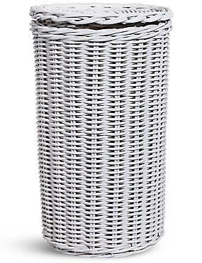 White Rattan Toilet Roll Holder