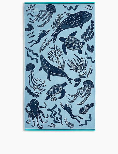Cotton Sea Print Beach Towel