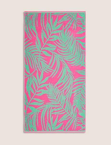 Cotton Tropical Palm Print Beach Towel