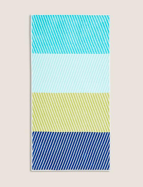 Cotton Colour Block Zig Zag Beach Towel
