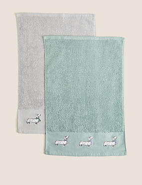 2 Pack Pure Cotton Sausage Dog Towels