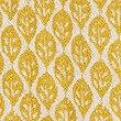 Lightweight Leaf Print Towel, OCHRE, swatch