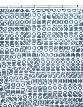 Coastal Geometric Shower Curtains