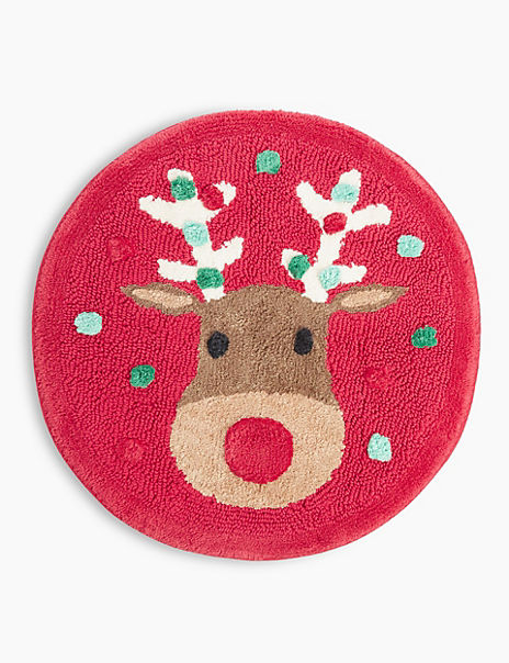 Pure Cotton Reindeer Print Bath Mat