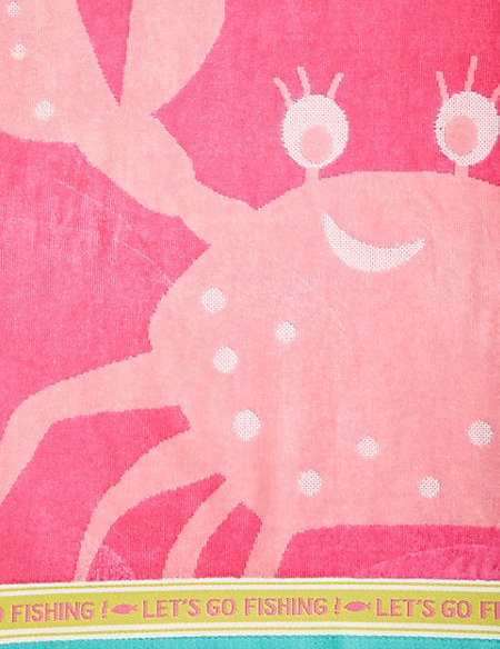 Crab Print Kids Beach Towel