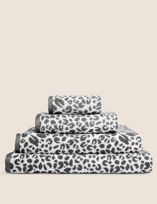 Serviette 100 % coton à imprimé léopard - Grey