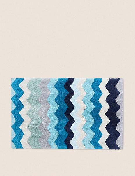 Cotton Zig Zag Pattern Bath Mat