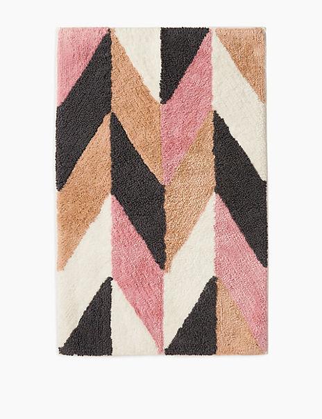 Cotton Geometric Pattern Bath Mat
