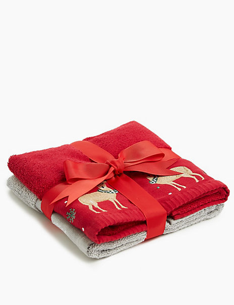 Stag & Snowman Embroidered Towel Gift Pack