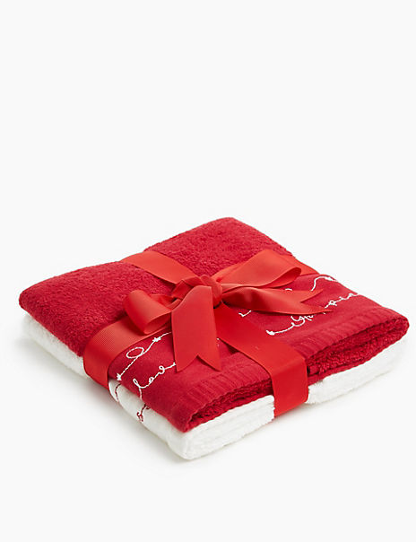 Joy Hope Love Embroidered Towel Gift Pack