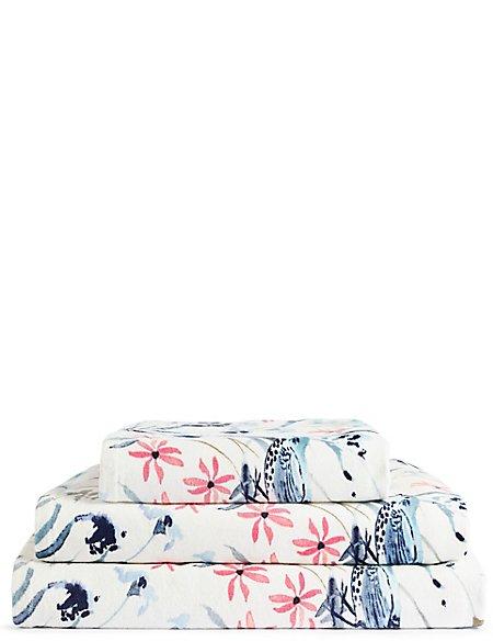 Japanese Floral Print Towel