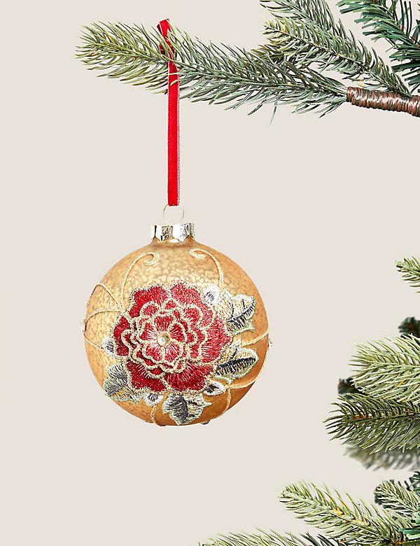 Μεγάλη χρυσή μπάλα με σχέδιο τριαντάφυλλο