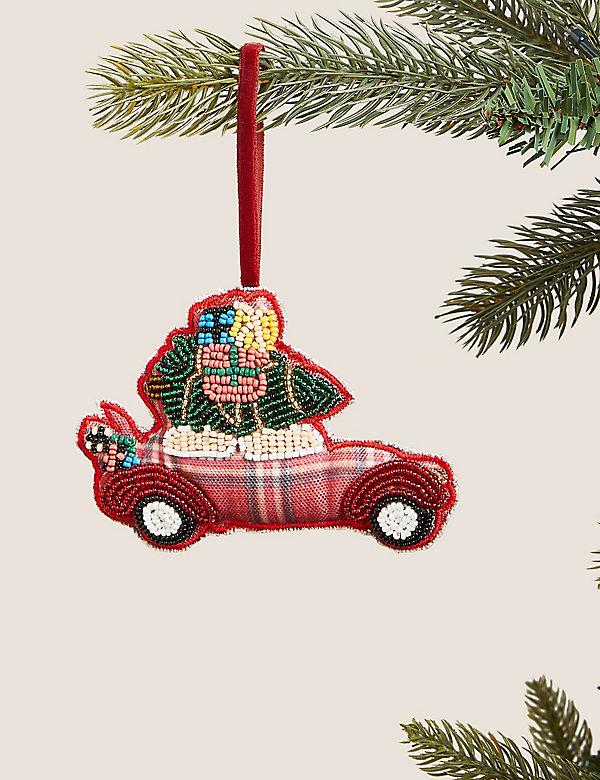 Κρεμαστό στολίδι δέντρου με αυτοκίνητο με ταρτάν