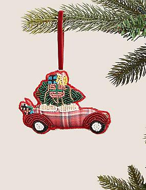 Tartan Hanging Car Tree Decoration