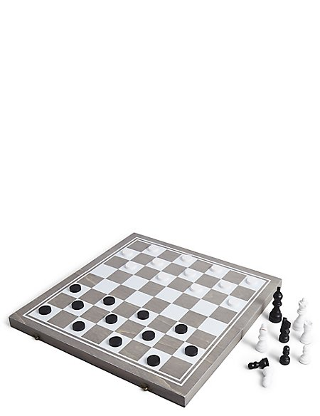 Wooden Chess & Draughts Set