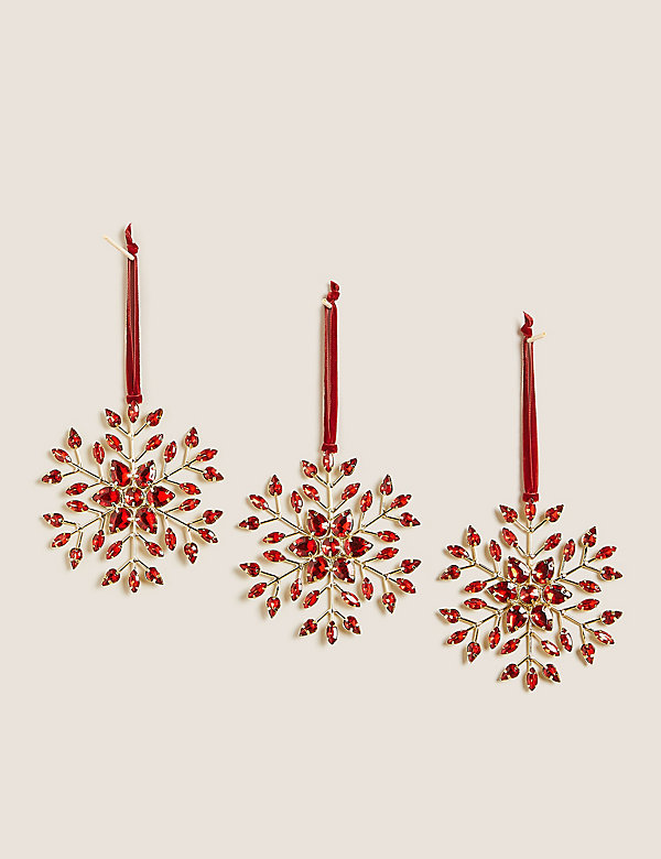 3 Pack Jewelled Snowflakes