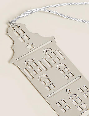 6 Pack Silver Townhouse Hanging Decorations