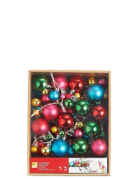 25 Multi Colour Bauble Garland Lights