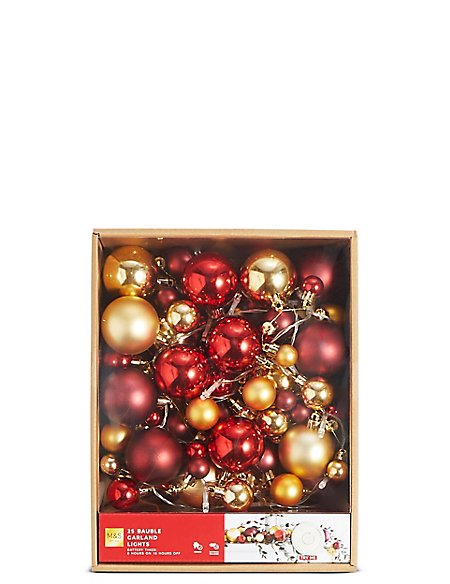 25 Red Bauble Garland Decorative Lights