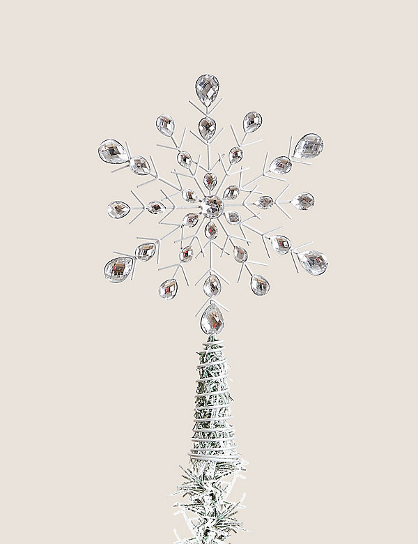 Large Silver Jewelled Snowflake Tree Topper