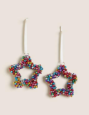 2 Pack Multicoloured Bell Hanging Decorations