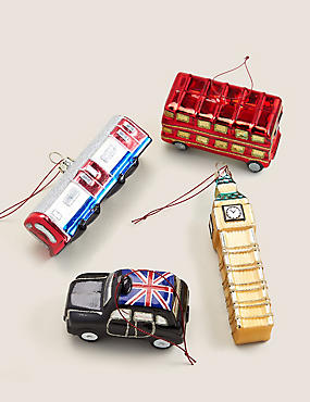 4 Pack Glass London Tree Decorations