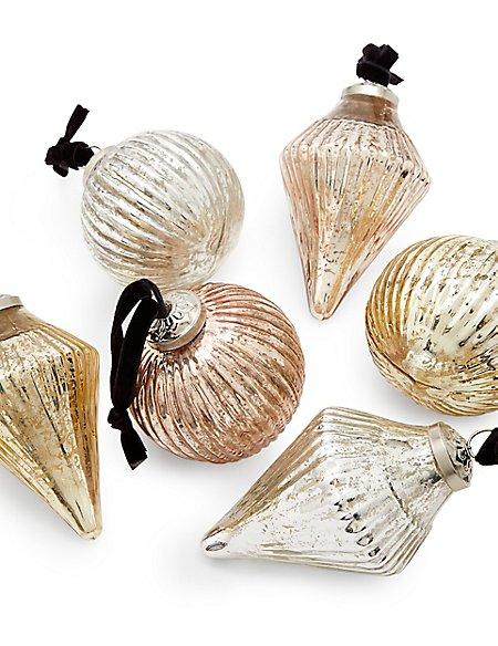 6 Pack Mixed Metallic Glass Baubles